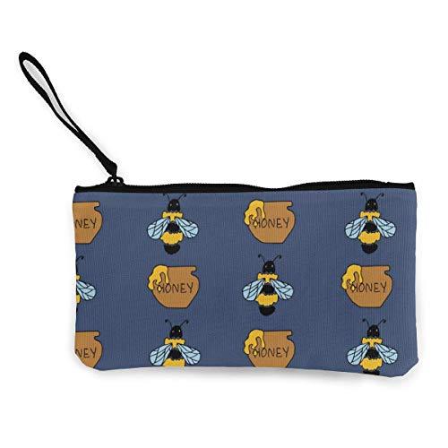Hdadwy Biene und Honigblau Männer und Frauen Persönlichkeit Mode Leinwand Geldbörse Junge und Mädchen Süße Brieftasche Tasche Münzkarte mit Handseil Reißverschluss Geldbeutel Kleine Kosmetiktasche