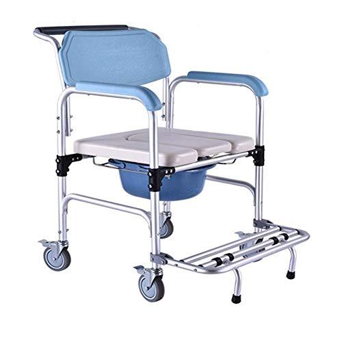 WYX Toilettenstuhl, Leichter sitzender Rollstuhl Alter Mann Toilettenschüssel Riemenscheibe Aluminiumlegierung Toilettenstuhl Mobil Geeignet für Schwangere Frau, Behinderten Badstuhl,B