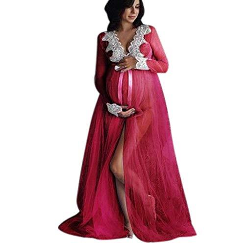 Mitlfuny Mujeres Otoño Invierno Ropa Premamá Vestidos Lactancia Embarazadas Maternidad Encaje Malla Cosiendo Manga Larga Sexy Collar V Frontal Dividir EnfermeríA Embarazo Trapear Largo Faldas