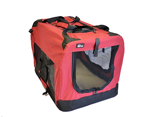 Kayla-ism Red Soft-Sided Medium Folding Pet Travel Carrier Crate