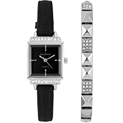 Petite Crystal Wrist Watch with Matching Pyramid Bracelet Gift Set