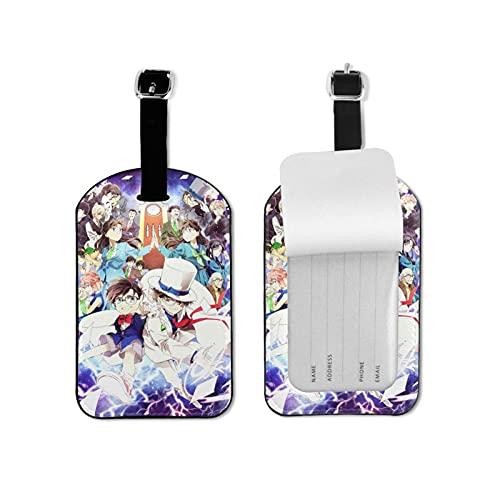 Detective Conan etiqueta de equipaje elegante y exquisita, hecha de piel sintética de microfibra, apta para maleta y bolso