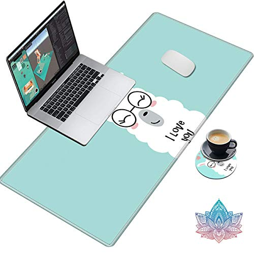 Desk Pad, Gaming Large Mouse Pad XXL XL Extended Keyboard Mat with Stitched Edges Non Slip Base Computer Mat for Work & Gaming, Office & Home, with Cute Coasters Stickers, Cute Llama