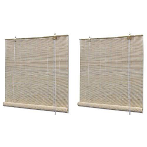 vidaXL 2X Naturlig bambu rullgardiner damm med en trasa eller en fjäder dammtrasa rum rullgardin kök kontor gardin naturlig bambufärg
