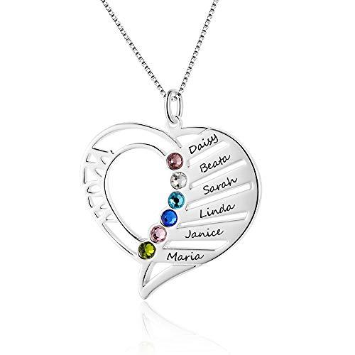 Bo&Pao Wow/MOM Namenskette Herz Silber Sterling 925 mit 1 bis 6 Wunschnamen und Geburtsstein, invididuelle Herz Kette Silber/Rosegold/Gold mit Gravur