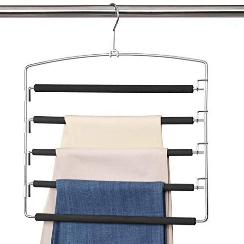 Meetu Pants Hangers 5 Layers Stainless Steel Non-Slip Foam Padded Swing Arm Space Saving Clothes Slack Hangers Closet Storage Organizer for Pants Jeans Trousers Skirts Scarf Ties Towels 2 Pack