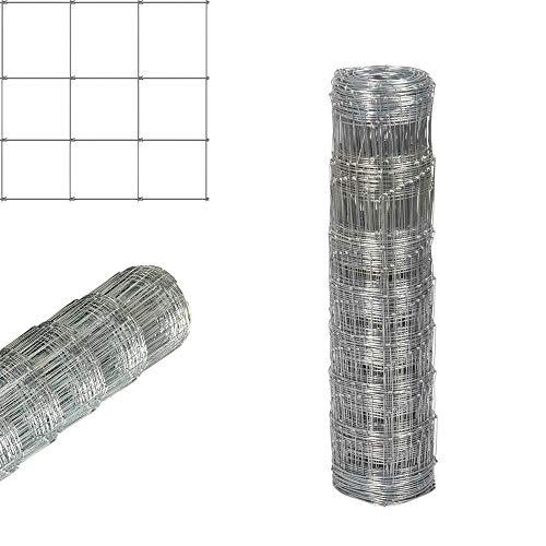 Efan Rollo de 50 m L8/80/15 de malla de alambre galvanizado sumergida en caliente de 80 cm de alto para jardín, granja, valla, valla, cerdo, caballo, ganado