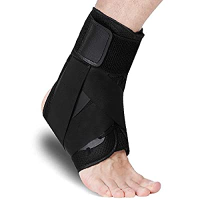 Ankle Brace, Lace Up Ankle Stabilizer with Adjustable Support for Men & Women, Ankle Brace Stabilizer for Sprained Ankle, Ankle Support for Volleyball, Basketball, Injury Recovery! (L)