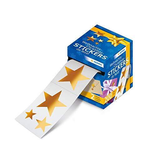 HERMA 15132 Weihnachtssticker auf Rolle, Weihnachtssterne gold, Weihnachtsdeko Geschenk Aufkleber, 200 kleine glänzende Weihnachtsmotiv Etiketten