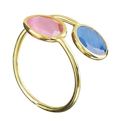 Córdoba Jewels   Anillo en Plata de Ley 925 bañada en Oro. Diseño Tú y Yo Luna Agua Marina Rosa de Francia Oro
