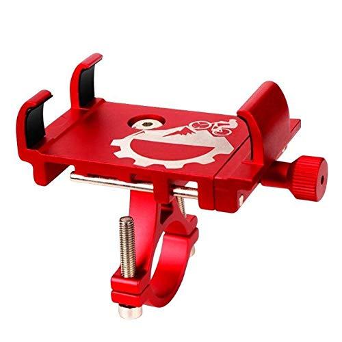 Qivor Soporte de Bicicleta de aleación de Aluminio Soporte para Bicicletas Motorilla de Motocicleta Montaje con Soporte de teléfono móvil de Bloqueo de Tres mandíbulas (Color : Red)