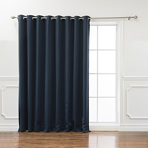 """Best Home Fashion Premium Wide Width Thermal Insulated Blackout Curtain - Antique Bronze Grommet Top - Navy - 100"""" w X 108"""" l - (1 Panel)"""