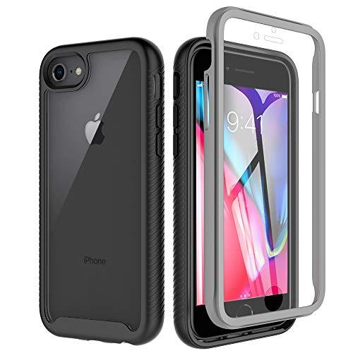 Eleproof iPhone SE 2020 Hülle/iPhone 8 Hülle/iPhone 7 Hülle/iPhone 6s Hülle, [Eingebautem Bildschirmschutz] 360 Grad R&umschutz TransparentBumper Handyhülle für iPhone SE 2020/8/7/6s, 4.7 Zoll