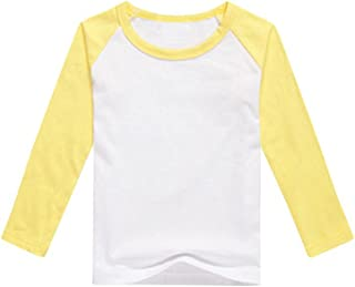 9887c86784f299 Boys Raglan Shirt Baseball Tee Long Sleeve Casual Girls T Shirts Jersey  Plain Crewneck Kids Tops