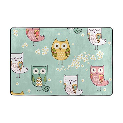 Orediy Weiche Teppiche mit niedlichem Eulen-Motiv, leicht, Kinder-Spielmatte, rutschfest, Yoga-Teppich für Wohnzimmer, Schlafzimmer