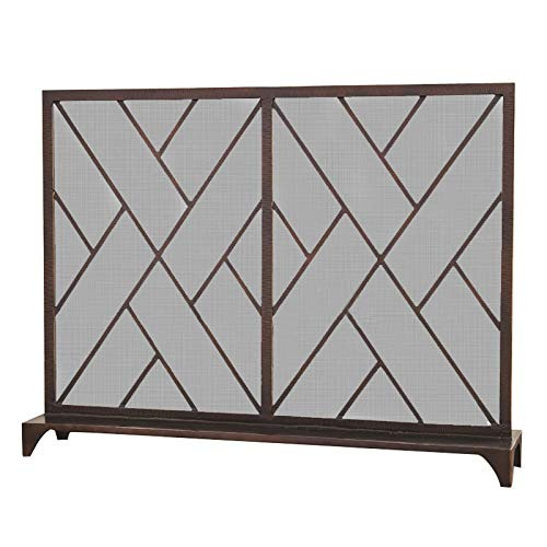 Fire Place Panels Rustic Worn Finish Mesh Fireplace Screen Fire Place Doors Wrought Iron Fire Place Gate Screens Indoor Flat Guard Home Decor,39.4'×30.7'×7.9' Fireplace Screen ( Color : Red copper )