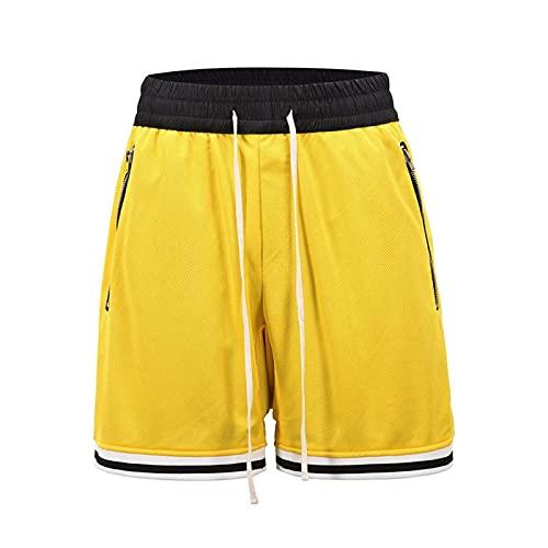 BAAFG Pantalones Cortos de Verano para Hombres Baloncesto Deportes al Aire Libre Ocio Hip-Hop Tendencia Shorts Malla Transpirable Playa Pantalones Cortos Yellow-L