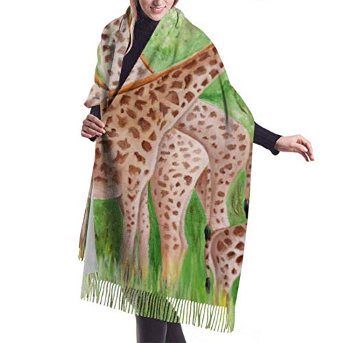 Tengyuntong Bufanda de mantón Mujer Chales para, 27'x77' Woman Scarf Original Painting Beautiful Giraffes Masai Mara Shawls Wrap Cashmere Scarf Shawl Stylish Large Warm Blanket