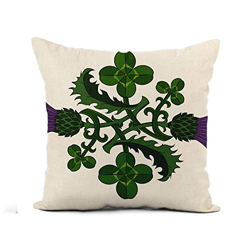 ETGeed Throw Pillow Cover Green Thistle and Clover The Symbols of Ireland Scotland Soft Cushion For Sofa Home Car Decoration,18x18Inch