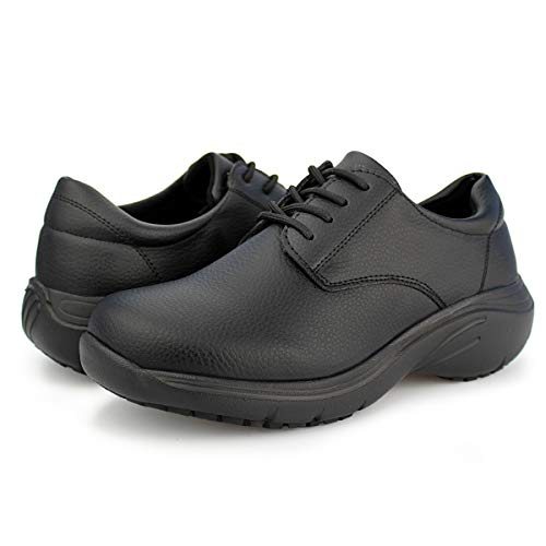 Hawkwell Women's Lace Up Nursing Shoes Comfortable Work Shoes,Black PU,5 M US
