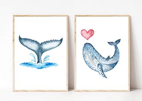 Din A4 Kunstdruck ungerahmt 2-teilig - Wal Blauwal Walflosse Herz Meerestier Ozean Maritim Aquarell, blau Deko, Badezimmer Geschenk Druck Poster Bild