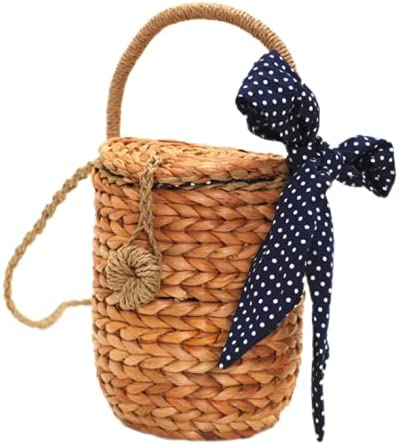 Straw Bags Summer Beach Tote Bag Top Handle Bag Handwoven Round Rattan Bags Tote Purse Crossbody Shoulder Handbag for Women