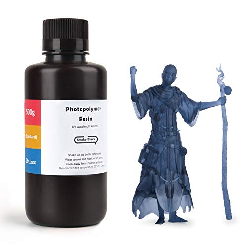 ELEGOO LCD UV 405nm ABS-Like 3D Printer Resin Rapid 3D Resin for LCD 3D Printer 500g Photopolymer Smoky Black