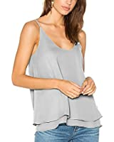 Dohia Chiffon Tank Tops for Women Loose Flowy Dressy Top Summer Camisoles Fit Spaghetti Sleeveless Casual Satin Blouses C2714 (XL, Grey)