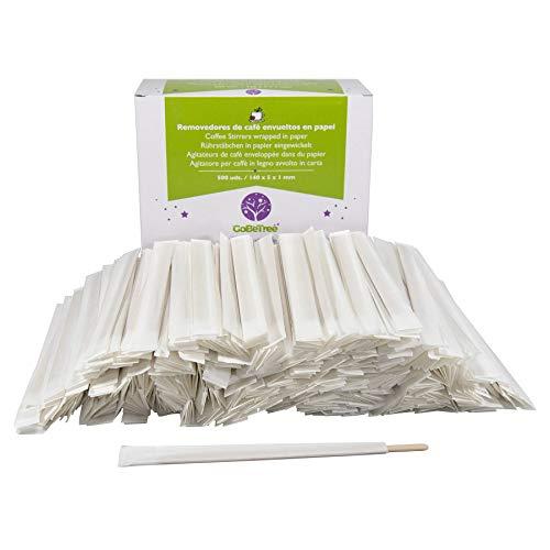 500 cuillères en bois emballées individuellement dans du papier de 14 cm. Bâtonnets de café jetables, bâtonnets d'agitateur de café biodégradables. Agitateurs à café.