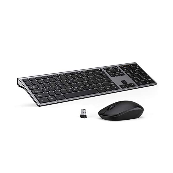 Wireless Keyboard and Mouse Combo – LEKVEY Slim Keyboard Mice, 2.4GHz 109 Keys Full Size Wireless Keyboard Mouse Set, with Number Pad, Silent Click, Stylish Design, US Layout (QWERTY), Space Gray