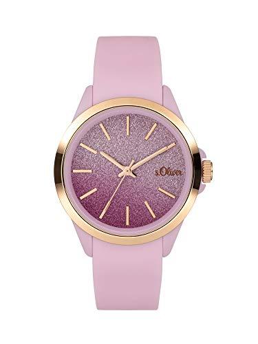 s.Oliver Mädchen Analog Quarz Uhr mit Silicone Armband SO-4007-PQ