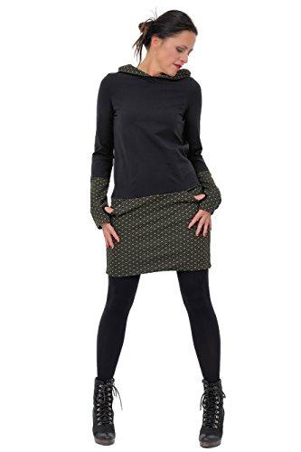 DREI Elfen Jerseykleid Kapuzen Winter Hoodie Kleid Damen Stulpen Daumenloch 3 Elfen schwarz grün Retro M