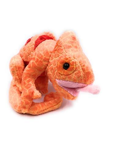 Onwomania Peluche Peluche Animal camaleón Naranja Reptil escamoso 17 cm