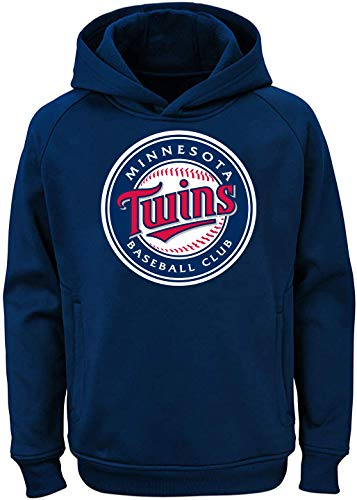 Outerstuff MLB Youth 8-20 Team Color Polyester Performance Primary Logo Pullover Sweatshirt Hoodie, Jungen, Minnesota Twins Marineblau, Medium 10/12 US