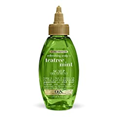 Help remove buildup with a burst of freshness with this tea tree & mint dry scalp treatment Blended with peppermint, tea tree oil & witch hazel, it invigorates the senses while removing residue MINTY REFRESH AND RESET: This 4 ounce bottle of OGX Extr...