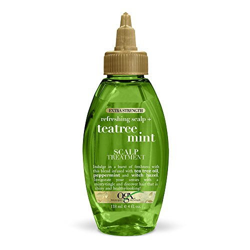 OGX Extra Strength Refreshing + Invigorating Teatree Mint Dry Scalp Treatment with Witch Hazel Astringent to Help Remove Scalp Buildup, Paraben-Free, Sulfate Surfactant-Free, 4 fl oz