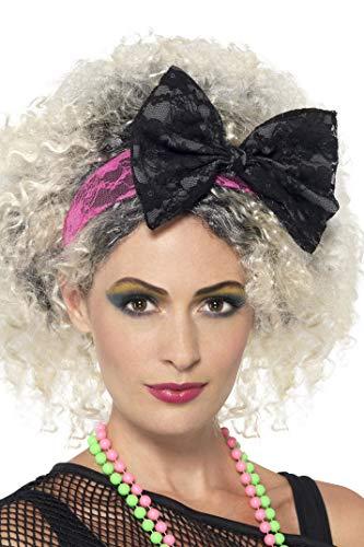 Smiffys Damen 80er Jahre Spitzen-Stirnband, One Size, Schwarz und Pink