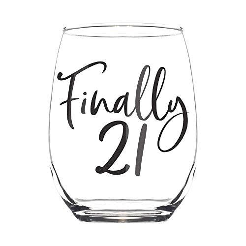 Finally Weinglas ohne Stiel, 54-426 ml, Geschenk zum 21. Geburtstag, Geschenkidee für Frauen