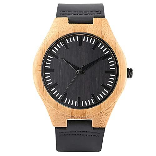 RWJFH Reloj de Madera Reloj Minimalista Negro con Esfera Redonda para Hombre, Caja de Madera de bambú Natural, Pulsera de Cuero, Reloj de Cuarzo para Hombre