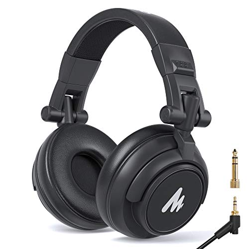 50 mm Treiber über Ohrhörer MAONO AU-MH601 Studio Stereo Monitor Kopfhörer mit geschlossenem Rücken für Musik, DJ, Podcast(Black)