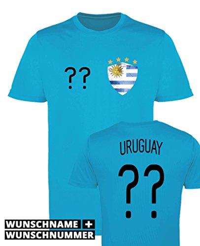 Comedy Shirts - Uruguay Trikot - Wappen: Klein - Wunsch - Jungen Trikot - Hellblau/Schwarz Gr. 98-104
