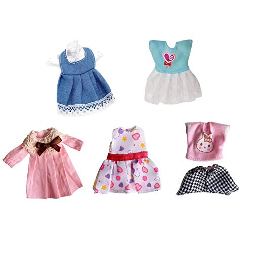 5 Pcs Set Lovely Mini Doll Clothes Party Dress Casual Outfits for 5-6 inch Doll Dress up Little Girl Christmas Birthday Gifts