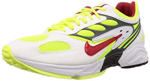 Nike Herren Air Ghost Racer Laufschuhe, Mehrfarbig (White/Atom Red-Neon Yellow-Dark Grey 100), 46 EU