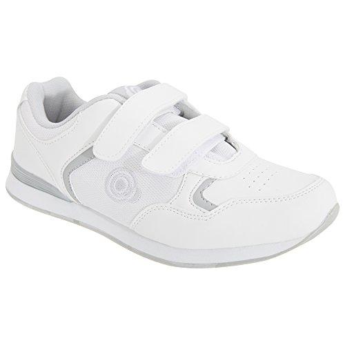 DEK Damen SKIPPER Damen Klettband Bowlingschuhe/Turnschuhe weiß/Grau - weiß/Grau PU/Textil, 4 UK Women