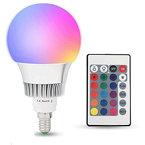Lampadine LED Colorate E14,10W RGBW Dimmerabile Edison Cambiare Colore Lampadina con Telecomando,Perfetto per Casa, Party, Bar, Discoteca, KTV Fase Effetto Luci [Classe di efficienza energetica A+]
