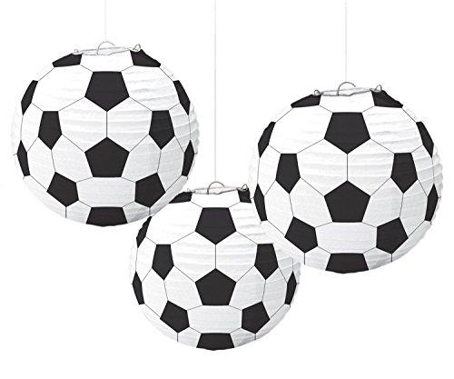Amscan 240178 - Lampions Fußball, 3 Stück, Größe circa 24 cm, Hängedekoration, WM, EM