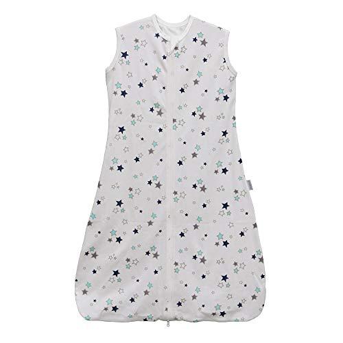 Saco de dormir para bebé, verano, niña, primavera, pijama de algodón fino con estrellas recién nacidas – 0,5 tog. blanco Estrellas blancas. Talla:130CM:4-6Jahre