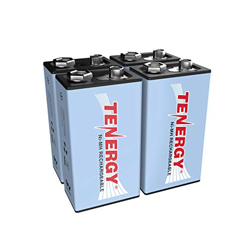 Tenergy 9V NiMH Battery, High Capacity 250mAh Rechargeable 9 Volt Batteries for Smoke Detector/Alarms, TENS Unit, Metal Detector, and More (4 Pack)