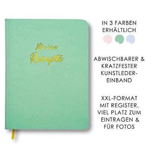 Meine Rezepte mintgrün: Großes Rezeptbuch zum Selberschreiben in grün im Leder-Look mit Register und Platz für Fotos, liniert