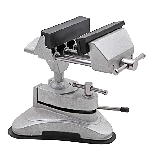 PROBEEALLYU Mini-Schraubstock tragbar, Tischklemme, mit 360 ° drehbarem Kopf und Saugkraft, Multi-Winkel, schwenkbar, kleiner Schraubstock für Heimwerker-Reparaturen, Modellierung, Löten und Basteln